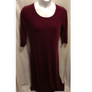 Size 1 (Sz 8/10) Joan Vass Dress Wine Velvet NWT